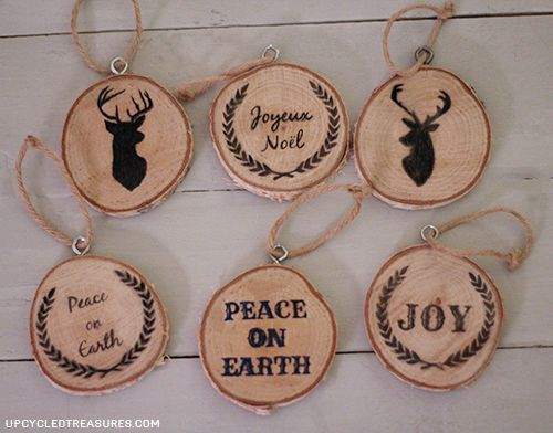 You can go over your graphics with sharpies or pens. Here are a few of the ornaments I made. You can spray them with clear sealer before adding the twine.