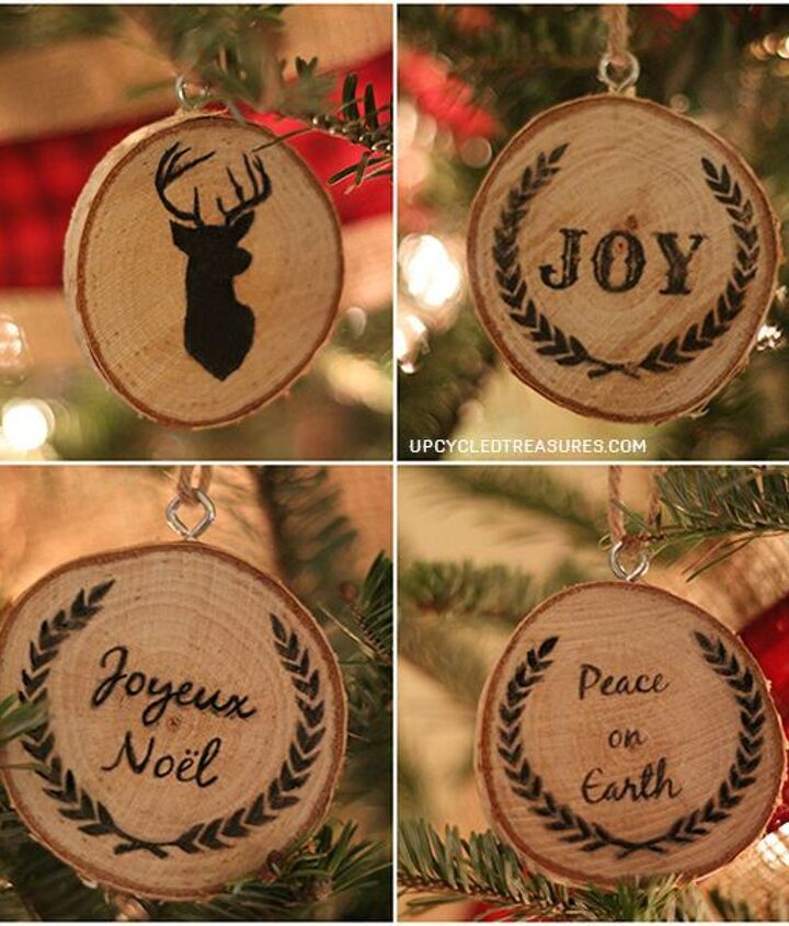 DIY Wood Slice Christmas Ornaments with easy wood transfer graphics. These would make for great customized gifts!