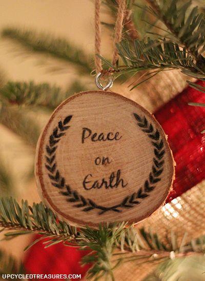 Peace on Earth Wood Slice Ornament