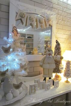 a shabby white christmas in australia, christmas decorations, seasonal holiday decor, Vintage paper crafts and a white tree are perfect in the breakfast nook