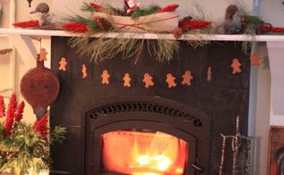 a rustic mantel and a cozy fire the family room at hoop top house decked out for, seasonal holiday d cor, gingerbread men on fishline