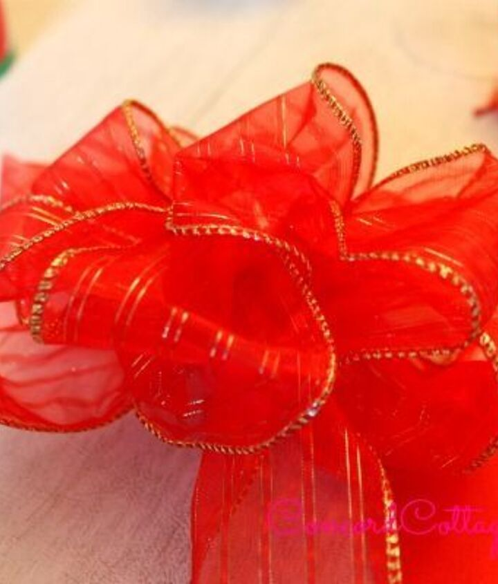 Tie pretty bows and wire ribbon works best.