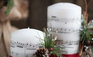 music sheet embedded candles, seasonal holiday decor, Music Sheet Embedded Candles