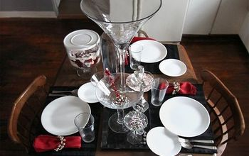simple black and white splash of red holiday tablescape, seasonal holiday decor, Simple dinnerware a martini glass collection and a few holiday accents to create this stunning table