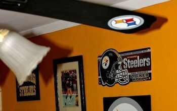 pittsburgh steelers football themed tv mancave, basement ideas, seasonal holiday decor, New Steeler s Football Family Room Living Room