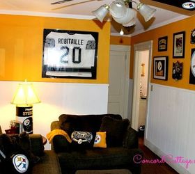 Pittsburgh Steelers Football Themed Tv Mancave Basement Ideas Seasonal  Holiday Decor The Full