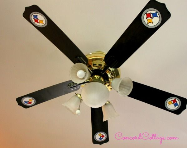 I painted the ceiling fan blades with Steeler's Logos by hand - there's a how to post if want to do it too