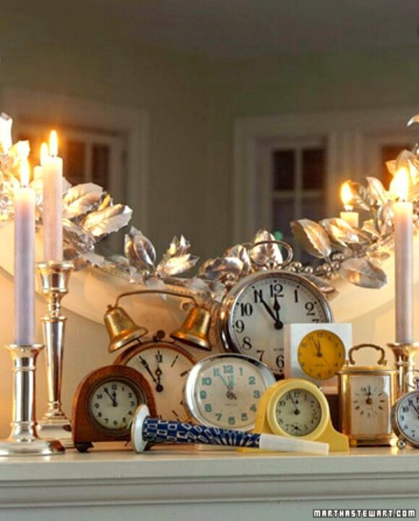 Use Clocks and candles for a great New Years Mantle.   Source – Marthastewart.com.