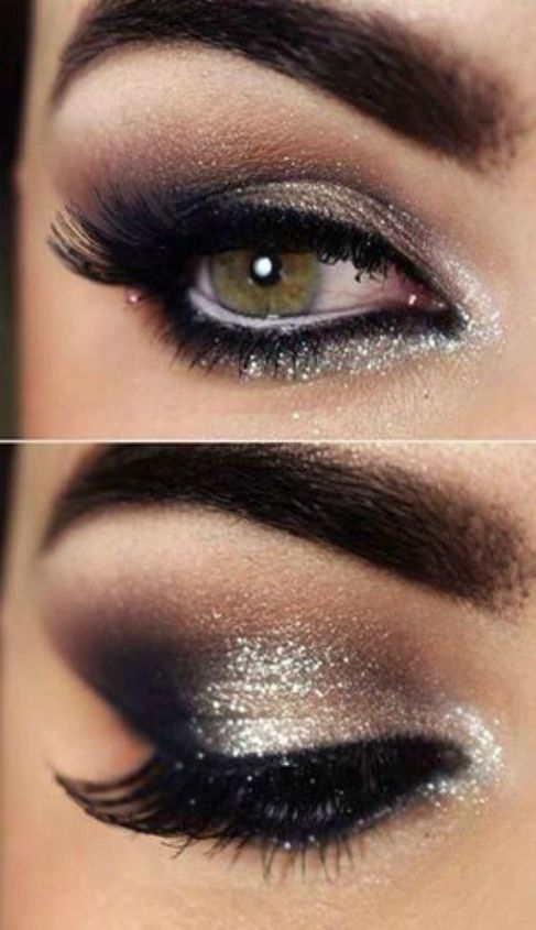 Along with your fabulous outfit made sure you add a little something extra to your makeup, like some pretty smoky eyes and why not a little glitter too.  Source – Weheartit.com.