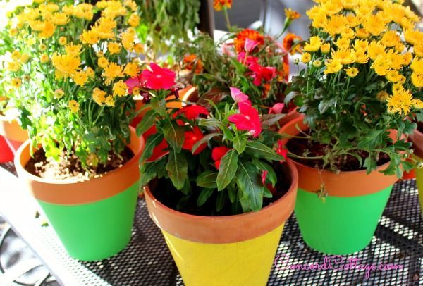 how to paint 1 flower pots and add color to your backyard easyupdate, painted furniture