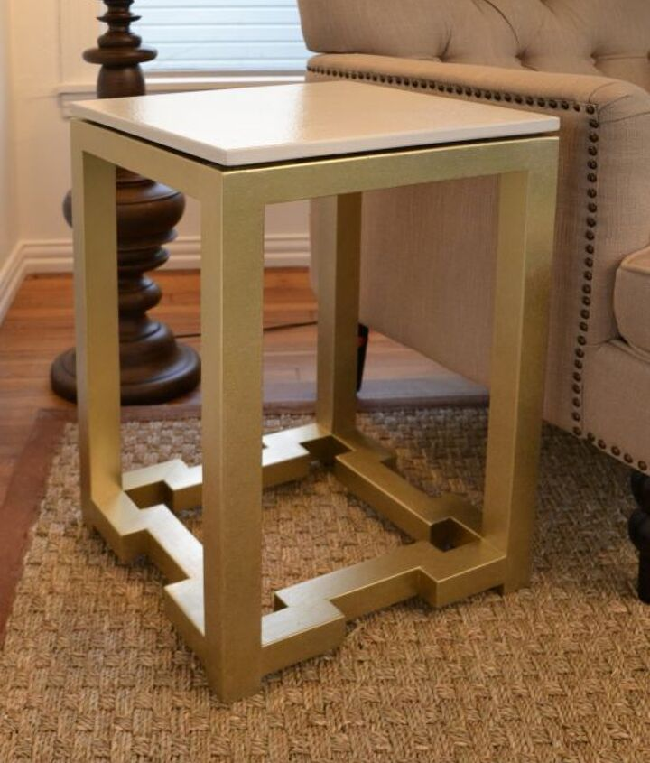 DIY side table with Greek key base.