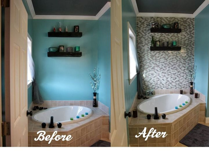 Diy glass tile accent wall in master bathroom hometalk for Diy bathroom decor ideas