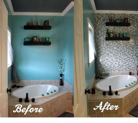 Captivating Diy Glass Tile Accent Wall In Master Bathroom, Bathroom Ideas, Home Decor,  Tiling