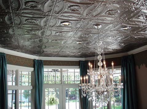 A beautiful tin ceiling installation
