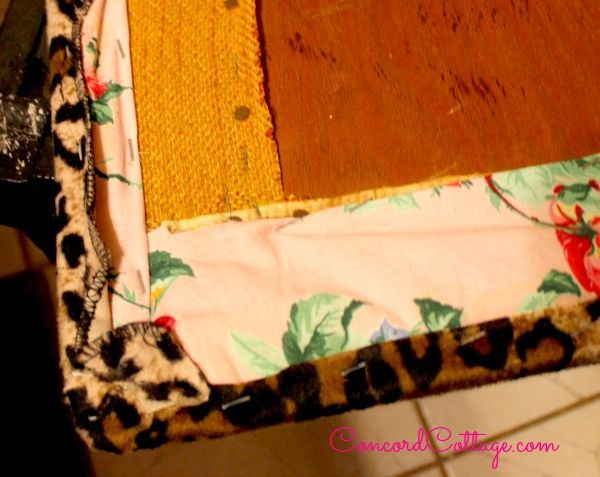 bench makeover with an animal print skirt, bathroom ideas, home decor, painted furniture, reupholster
