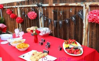 red chalkboard birthday party, outdoor living