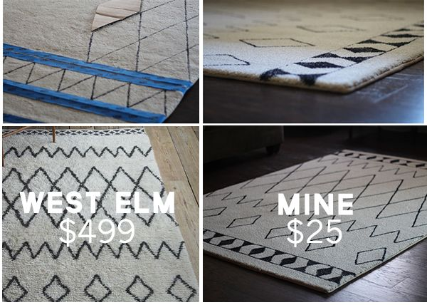 Diy Sharpie Rug A West Elm Knockoff Crafts Flooring Repurposing Upcycling