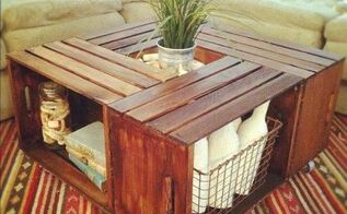 coffee table from crates, diy, how to, painted furniture, repurposing upcycling, rustic furniture, woodworking projects, The finished table