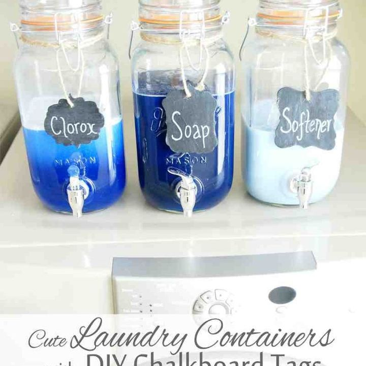 mason jar laundry soap containers with diy chalkboard tags, cleaning tips, mason jars, repurposing upcycling