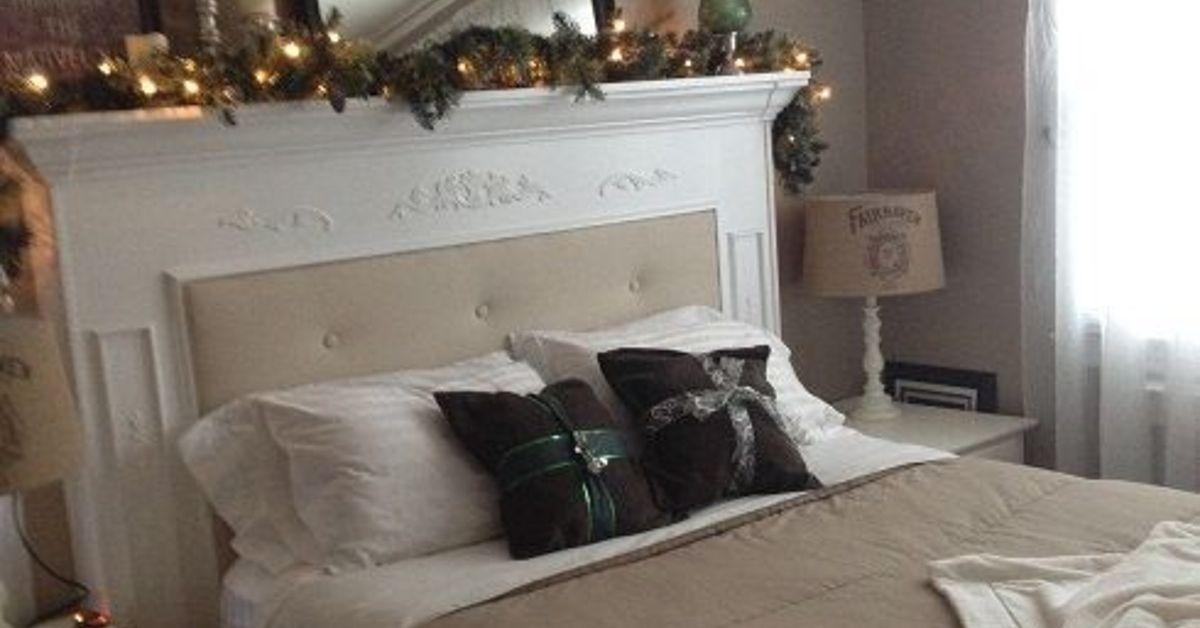 Furniture Rustic Wood Bed Headboards With Mantel Having: DIY Fireplace Mantel Headboard