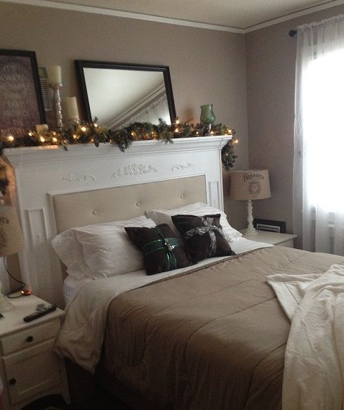 diy fireplace mantle headboard, bedroom ideas, fireplaces mantels, painted furniture, repurposing upcycling