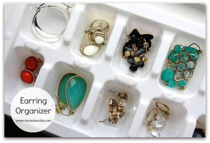 Organizing Solution #6: Ice Cube Tray to Earring OrganizerRepurpose an ice cube tray into an earring holder... it will keep your baubles neat and tidy.