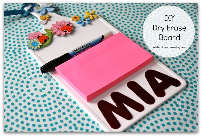 Organizing Solution #7: Cutting Board to Dry Erase Board1. Snag a plastic cutting board, sticky note pad, die cut letters, stickers, rope and a dry erase marker from the dollar store.Assemble board and use a dry erase marker on it.