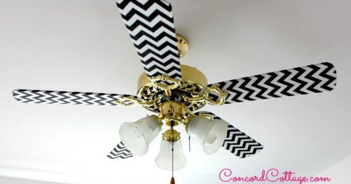 Fabric ceiling fan blade covers ceiling fan ideas ceiling fan makeover with black white chevron hometalk aloadofball Images