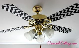 ceiling fan makeover with black white chevron, repurposing upcycling, reupholster