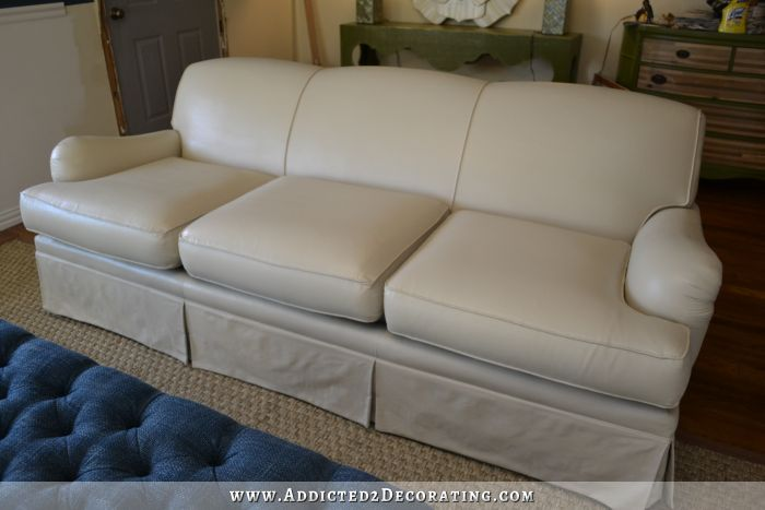 Sofa painted with latex paint with fabric medium added.