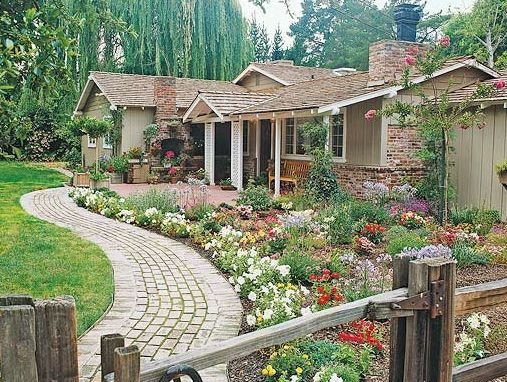 Create more visual impact by using your plantings to accent a gently curving walkway. - BHG