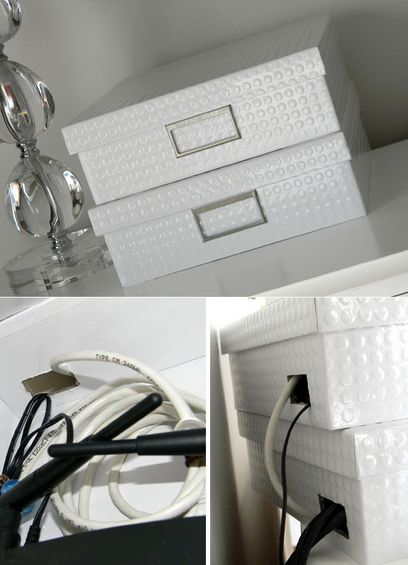Conceal your routers and wires with card boxes  sweetsanitydesigns.com