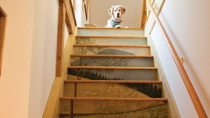 painted panels for stair risers, home decor, painting, stairs, The painting is a series of canvas panels mounted on the stair risers to create a vertical mural What would you have me paint on your stair mural Rollie the dog does not come with the paintings Customized paintings are 50 sf