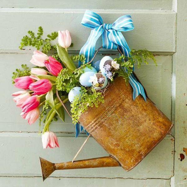 I LOVE this Spring or Easter Watering Can Wreath from Better Homes & Gardens.