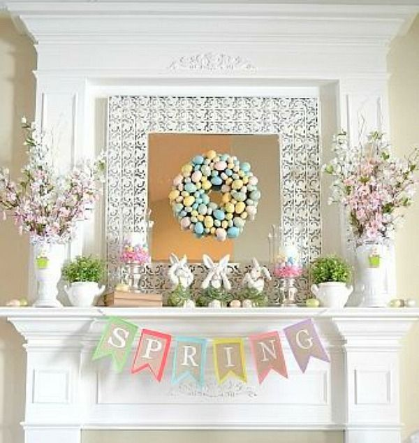 Look at this pretty Spring Mantel from Adventures in Decorating.  When I clicked through her link it actually took me to her new mantel which is a little new variation of this.