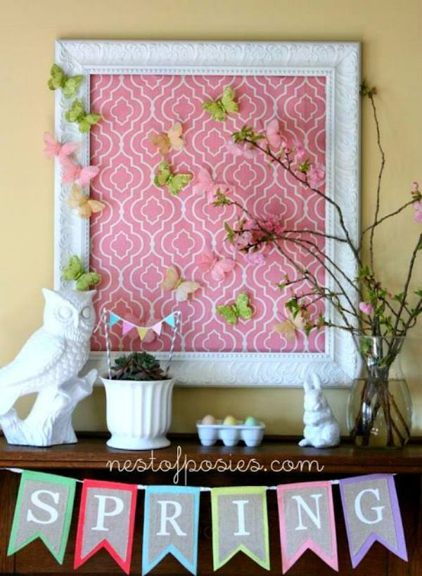 Pretty Spring Mantel from Nest of Posies.com.