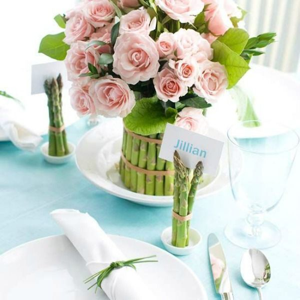 Is this such a lovely tablescape with the asparagus from Better Homes & Garden.