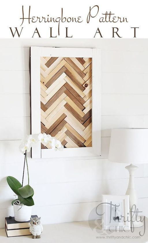 herringbone pattern wall art using wood shims, crafts, home decor, woodworking projects
