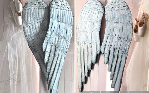 Huge Distressed Wood Angel Wings Home Decor Repurposing Upcycling Woodworking Projects