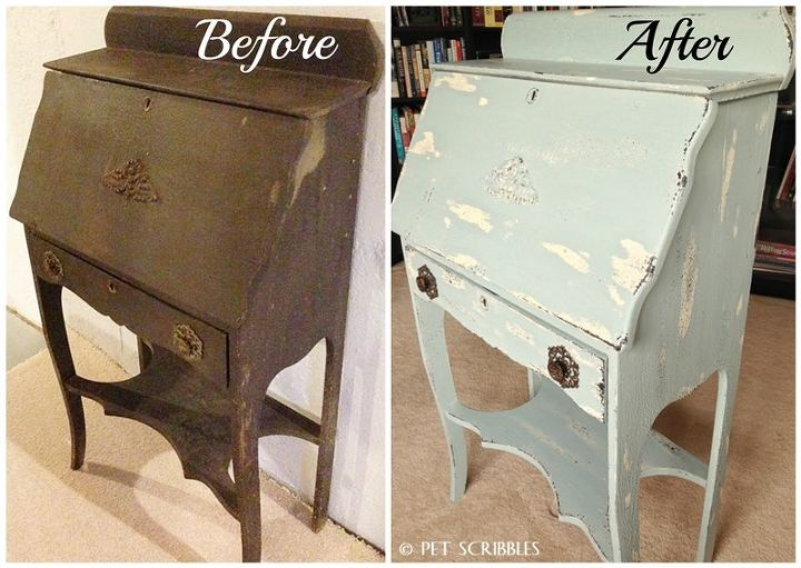 chippy paint antique secretary desk, painted furniture - Chippy Paint Antique Secretary Desk Hometalk
