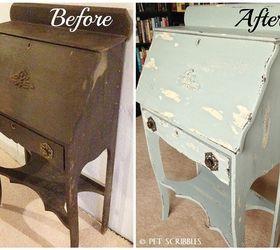 Chippy Paint Antique Secretary Desk, Painted Furniture