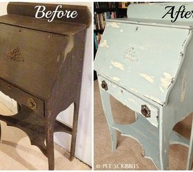 Chippy Paint Antique Secretary Desk, Painted Furniture