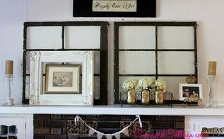 mother s day mantel with old windows, easter decorations, fireplaces mantels, seasonal holiday d cor