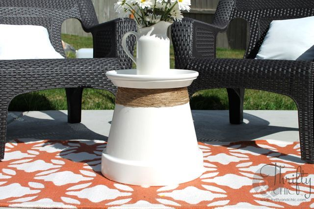 repurposed terracotta pot into accent table, home decor, outdoor furniture, outdoor living, painted furniture, repurposing upcycling