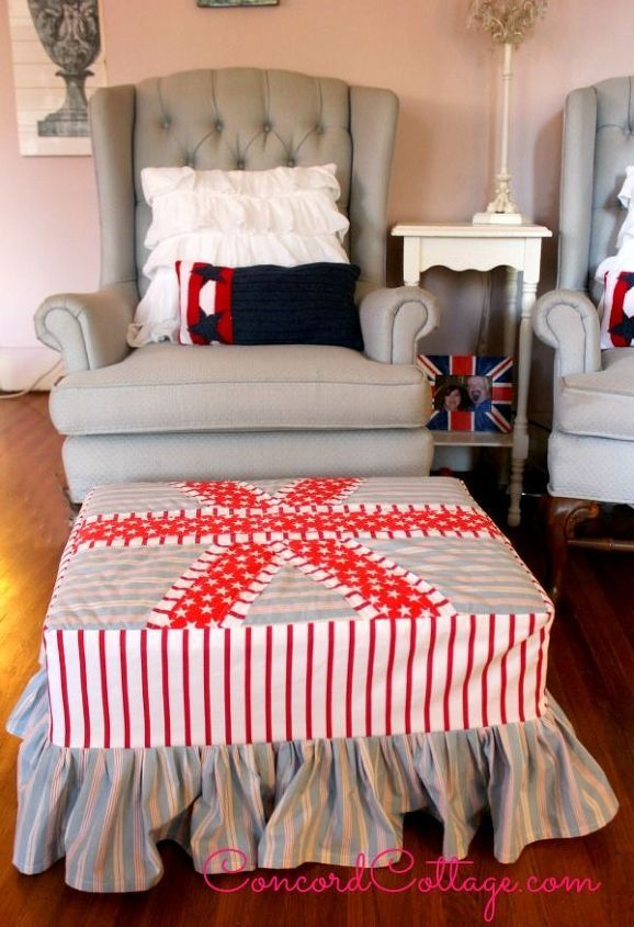 2 ottoman makeover how to make a slipcover, crafts, home decor, painted furniture, patriotic decor ideas, seasonal holiday decor, reupholster