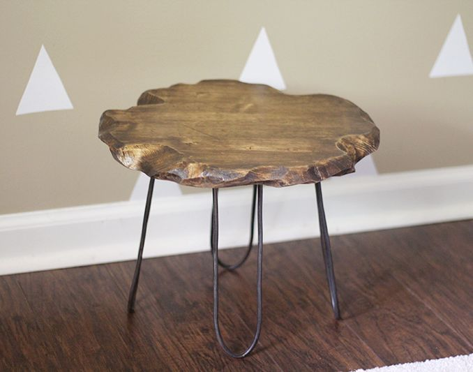 Small Rustic Stool With DIY Hairpin Style Legs No Welding Required - Coffee table no legs