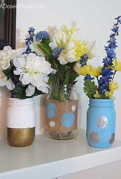 mason jar vases, crafts, home decor, mason jars