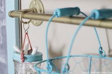 gold industrial pipe storage rail system, mason jars, repurposing upcycling, storage ideas