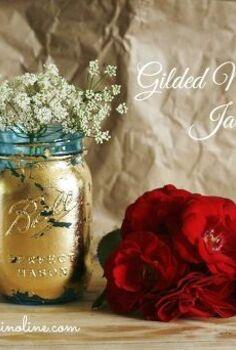 gilded mason jar vase, crafts, mason jars, repurposing upcycling