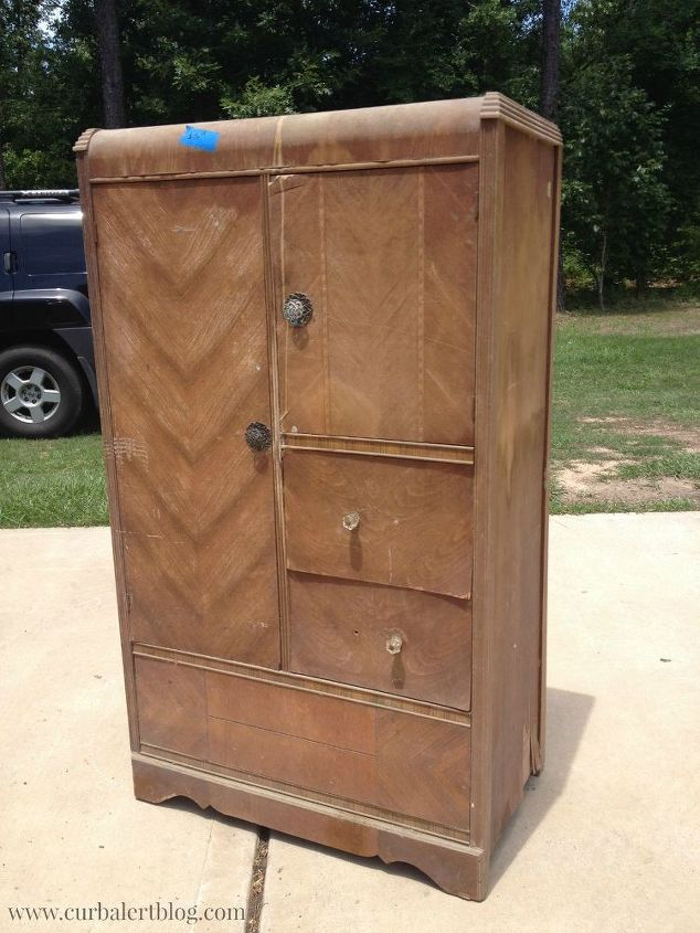 waterfall style antique chifferobe wardrobe, painted furniture, repurposing upcycling